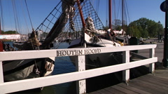 Hoorn wooden boat jetty near the harbor Stock Footage