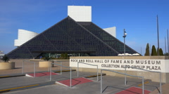 Establishing shot of the Rock and Roll Hall of Fame in Cleveland, Ohio. Stock Footage