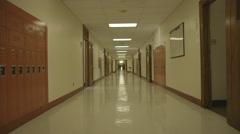 High School Hallway Dolly Stock Footage