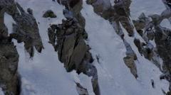 Snowy alpine summit in austria Stock Footage