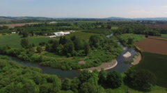 Aerial shot of Yamhill River, Oregon - stock footage
