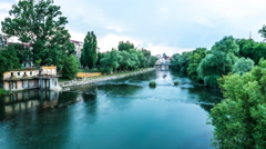 Timelapse of the River Crisul Repede flowing through Oradea Stock Footage