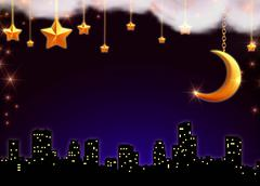 starry night over the town - stock illustration