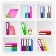 White office shelves with different stationery, close up Stock Photos