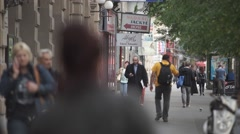 Crowded street with tele lenses Stock Footage
