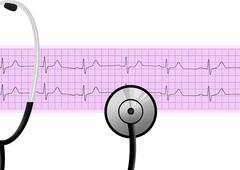 Stethoscope on heartbeat graph (cardiogram) - stock illustration