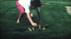 1960's. mom picking up mushrooms on lawn Stock Footage