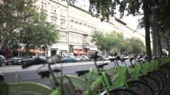 City bycicle station, BUBI Stock Footage