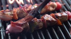 Chicken skewers on grill, shot on Phantom Flex 4K Stock Footage