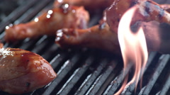 Barbeque chicken on grill, shot on Phantom Flex 4K Stock Footage