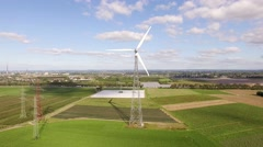 Aerial of a wind engine in germany Stock Footage