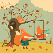 Cute foxes ride on a swing in the autumn forest - stock illustration