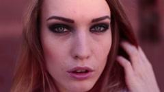 Caucasian european girl face eyes lips portrait - stock footage