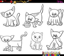 Stock Illustration of cats set cartoon coloring page