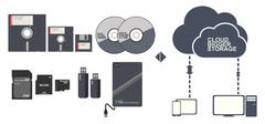 Data Storage Floppy disc CD DVD Memory card and cloud vector illustration Piirros