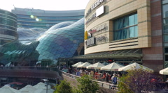 Warsaw, Poland. Modern shopping mall in city center Stock Footage