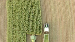 Aerial of a combine harvester Stock Footage