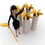 woman with golf bat concept - stock illustration