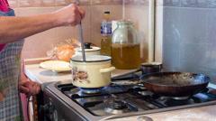 Housewife preparing breakfast. Stock Footage