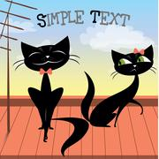Stock Illustration of Lovely couple of black cats on the roof