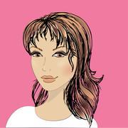 beautiful female face - stock illustration