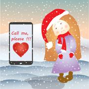 Sad girl and mobile phone SMS or email, under the snow Stock Illustration