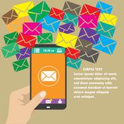 Vector mobile app -email marketing and promotion - stock illustration