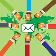 Many hands holding smart phones and send SMS Stock Illustration