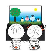 Couple boy and girl watching cartoon about cute sheep on TV - stock illustration