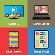 Smart device- smartphone, laptop, tablet, TV, flat design Stock Illustration