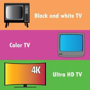 Banners or background, the evolution of television - stock illustration