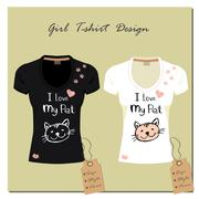 Black and white T-shirt with a cute cat Stock Illustration
