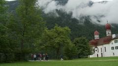Konigssee lakeside village in Bavarian Alps, Germany Stock Footage