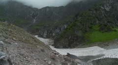 Mountain glacier mouth and melt water in Berchtesgaden Alps, Bavaria Stock Footage