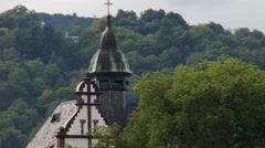 View from Rhine cruise boat of moving traditional architecture and forest Stock Footage