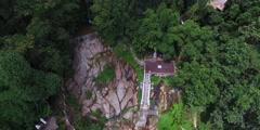 back sweep birdseye of wat prathat mountain temple - stock footage