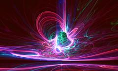Mysterious alien form colorfull magnetic fields in the dark night sky. Fractal Stock Illustration