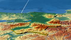 Sakarya - Turkey region extruded. Bumps shaded Stock Footage