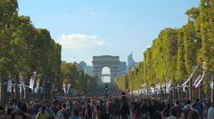 Main street of Paris, Champs elysees with no cars. Establishing shot Stock Footage