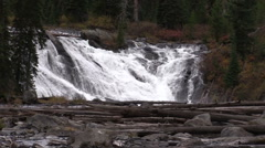 Scenic Lewis Falls Zoom Out in Yellowstone N.P. Stock Footage