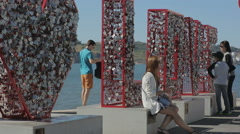 Portugal 2015 september love monument belem embenkment tejo a new tourist Stock Footage