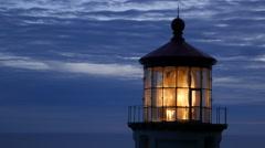 Closeup shot of Heceta Head lighthouse at night Stock Footage