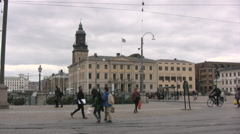 Central Gothenburg with pedestrians passing Stock Footage