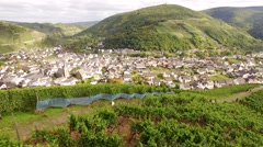 Aerial of a village in a winegrowing area in germany Stock Footage
