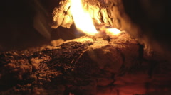log drowning in the fireplace - stock footage