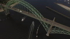 Aerial shot of Newport, Oregon bridge and bay Stock Footage