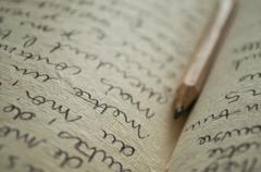 Manuscript writing Stock Photos