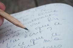 manuscript writing - stock photo