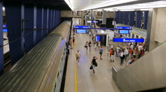 Platform of the main, central train station in Warsaw, Poland Stock Footage