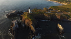 Yaquina Bay Lighthouse, aerial shot Stock Footage